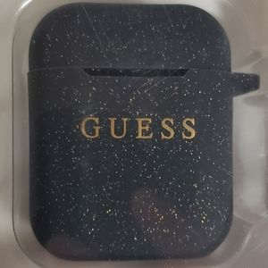 GUESS apple air pods case black with gold glitter